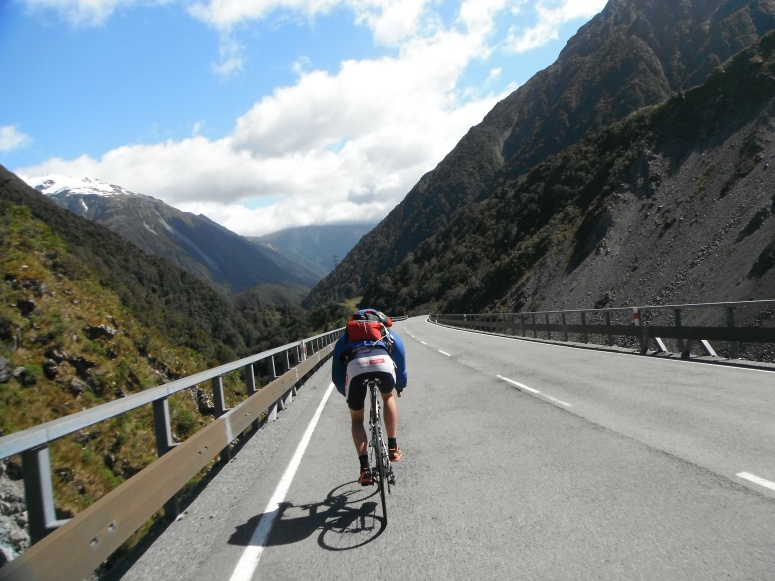 Josh & I biking over Arthur's Pass so we that could run back over via Goats pass!