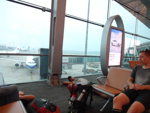 Waiting at the airport in Guangzhou
