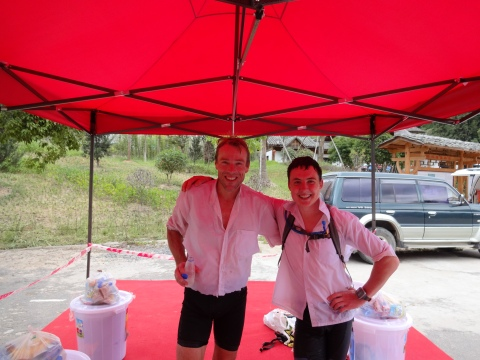 The invincible Marcel Hagener and I after finishing and after laying in a stream for 10mins to cool down. These business shirts were what we chose to race to avoid the sun and                       cotton to wick away heat. $5 at the markets.
