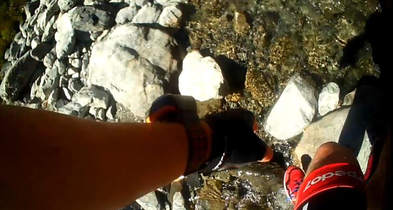 Tackling the goat pass rocks