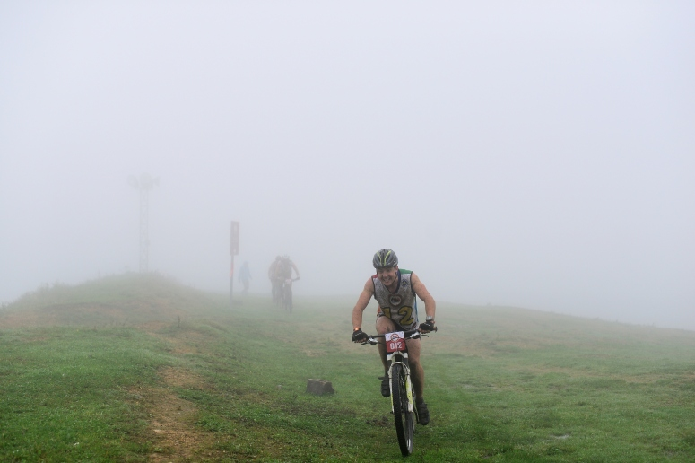 Me reaching the end of the mountain bike, showing signs of pain