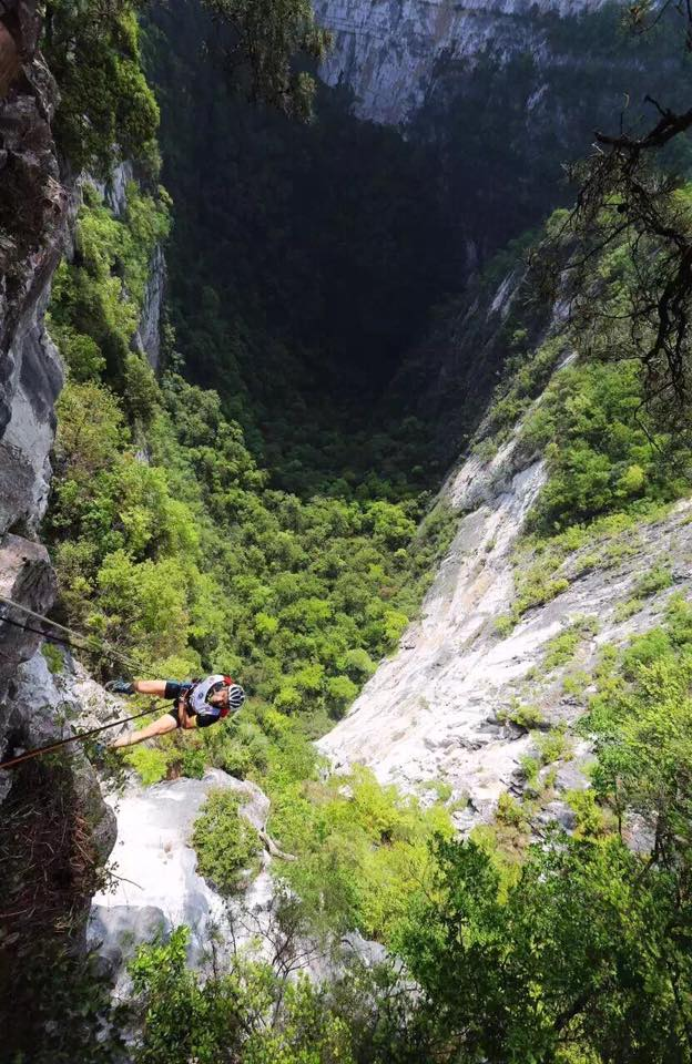 Huge 120m abseil down into a cave