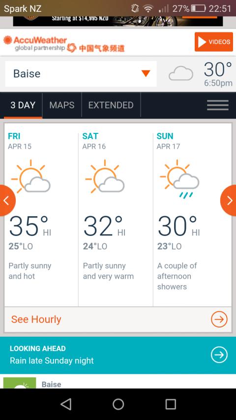 Baise weather forecast (sweats)