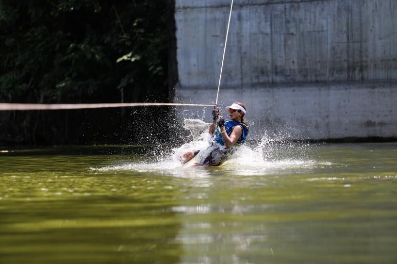 Rope zipline to the lake